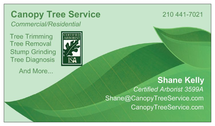 Canopy Tree Service Business Card  sc 1 st  Canopy Tree Service & Need San Antonio Tree Care? Contact 210-441-7021 Canopy Tree Service